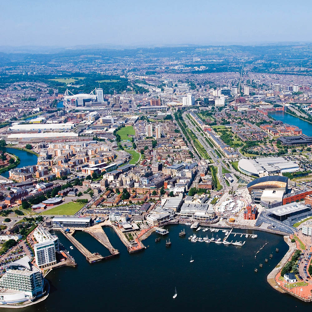 Aerial photo of Cardiff